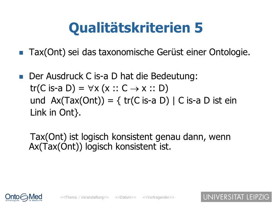 Qualitätskriterien 5 Tax(Ont) sei das taxonomische Gerüst einer Ontologie. Der Ausdruck C is-a D hat die Bedeutung: