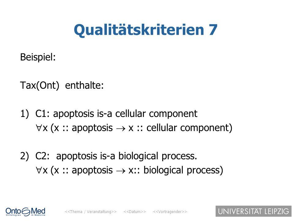 Qualitätskriterien 7 Beispiel: Tax(Ont) enthalte: