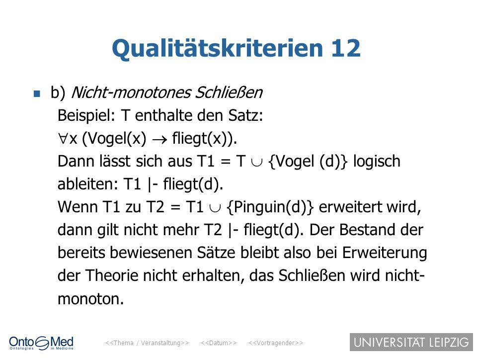 Qualitätskriterien 12 b) Nicht-monotones Schließen