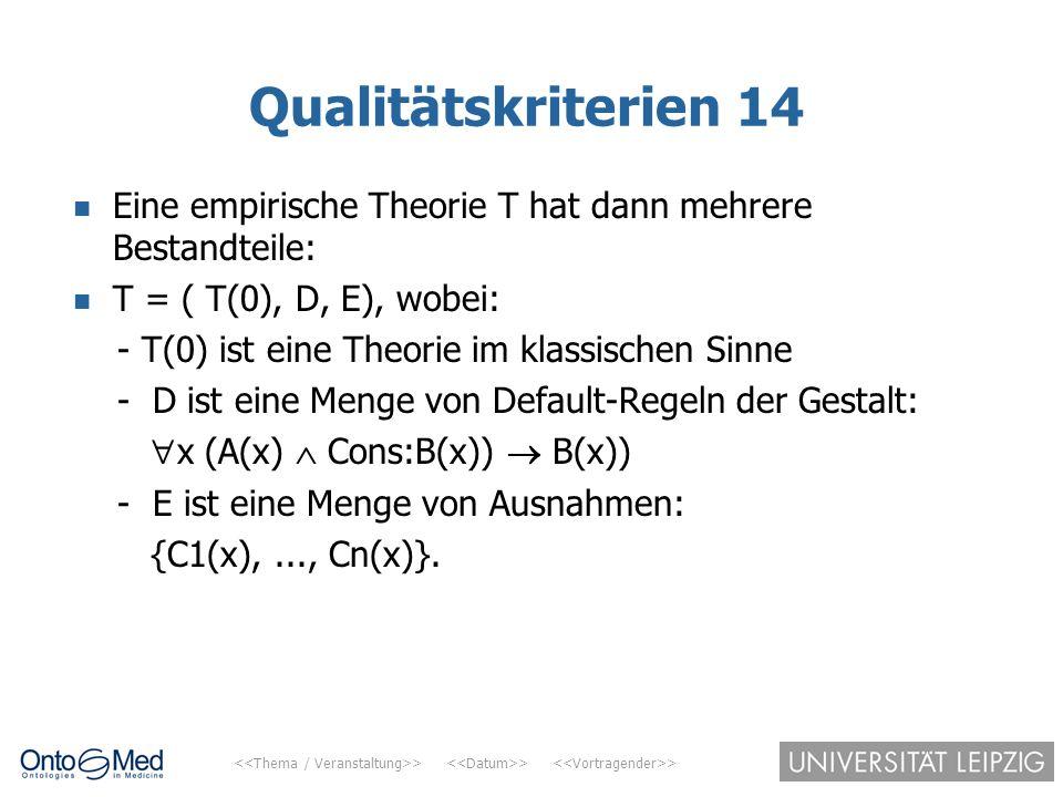 Qualitätskriterien 14 Eine empirische Theorie T hat dann mehrere Bestandteile: T = ( T(0), D, E), wobei: