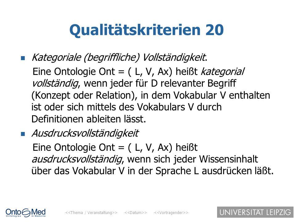 Qualitätskriterien 20 Kategoriale (begriffliche) Vollständigkeit.