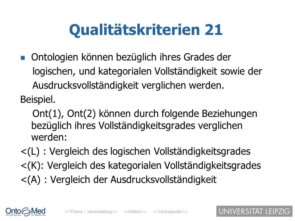 Qualitätskriterien 21 Ontologien können bezüglich ihres Grades der