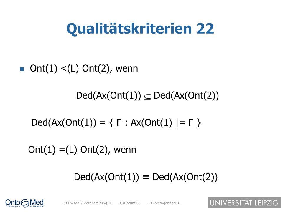 Qualitätskriterien 22 Ont(1) <(L) Ont(2), wenn