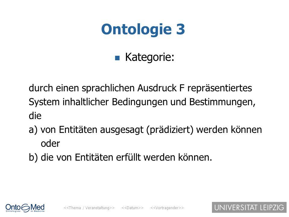 Ontologie 3 Kategorie: durch einen sprachlichen Ausdruck F repräsentiertes. System inhaltlicher Bedingungen und Bestimmungen,