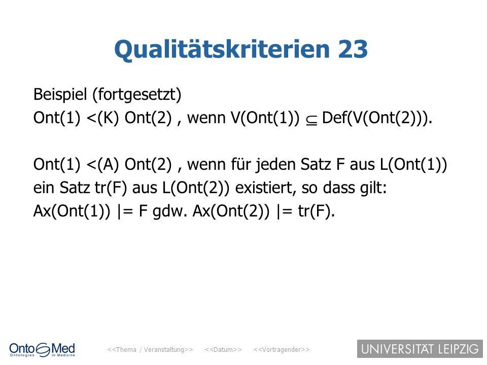 Qualitätskriterien 23 Beispiel (fortgesetzt)