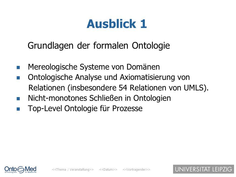 Ausblick 1 Grundlagen der formalen Ontologie