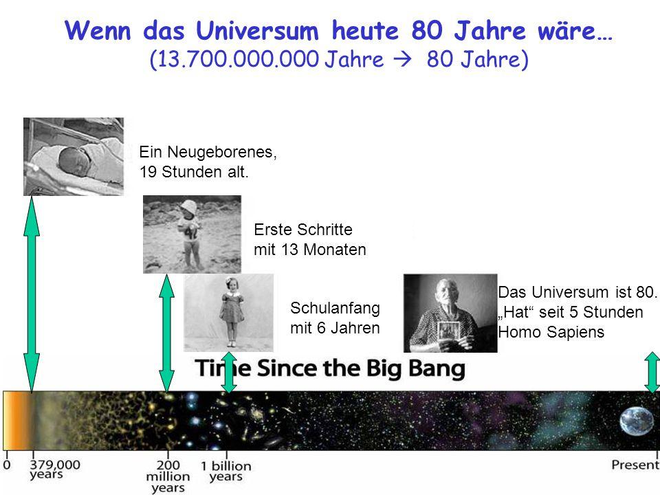 Wenn das Universum heute 80 Jahre wäre… (13. 700. 000