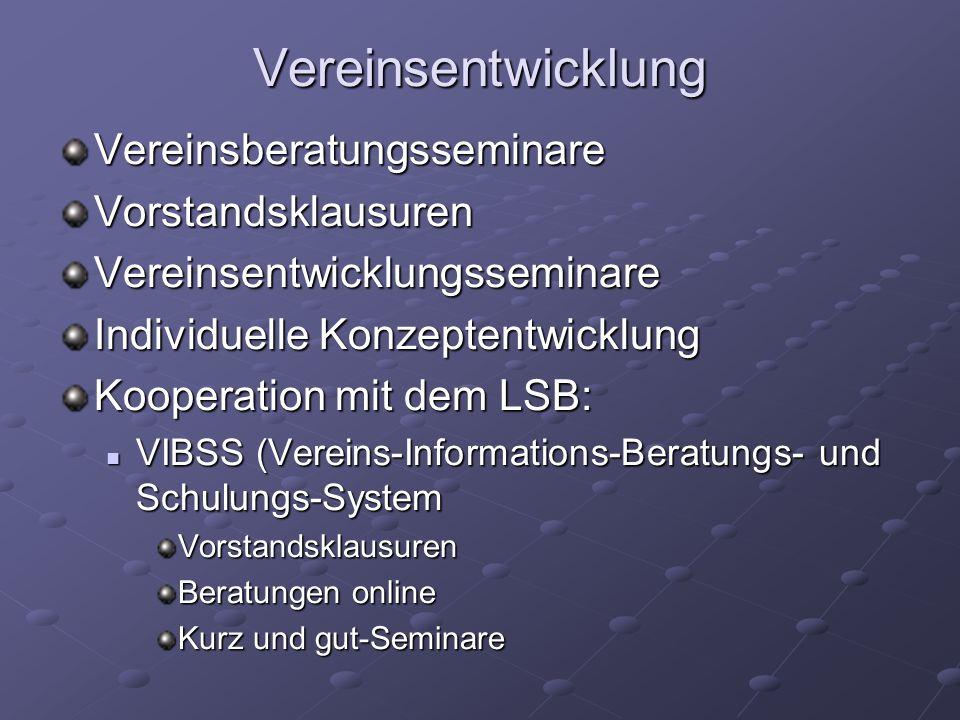 Vereinsentwicklung Vereinsberatungsseminare Vorstandsklausuren