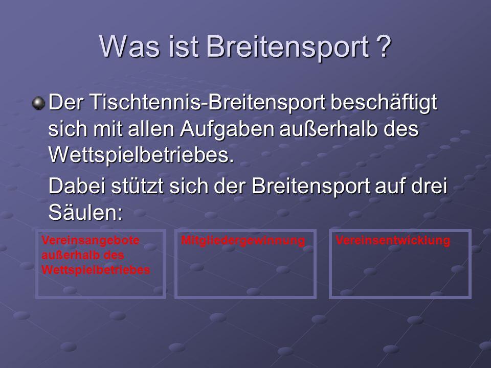 Was ist Breitensport Der Tischtennis-Breitensport beschäftigt sich mit allen Aufgaben außerhalb des Wettspielbetriebes.
