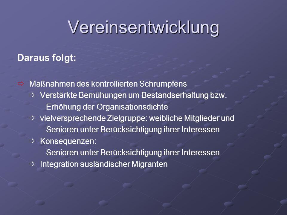 Vereinsentwicklung Daraus folgt: