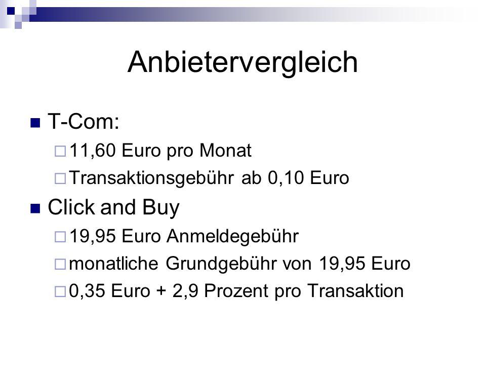 Anbietervergleich T-Com: Click and Buy 11,60 Euro pro Monat
