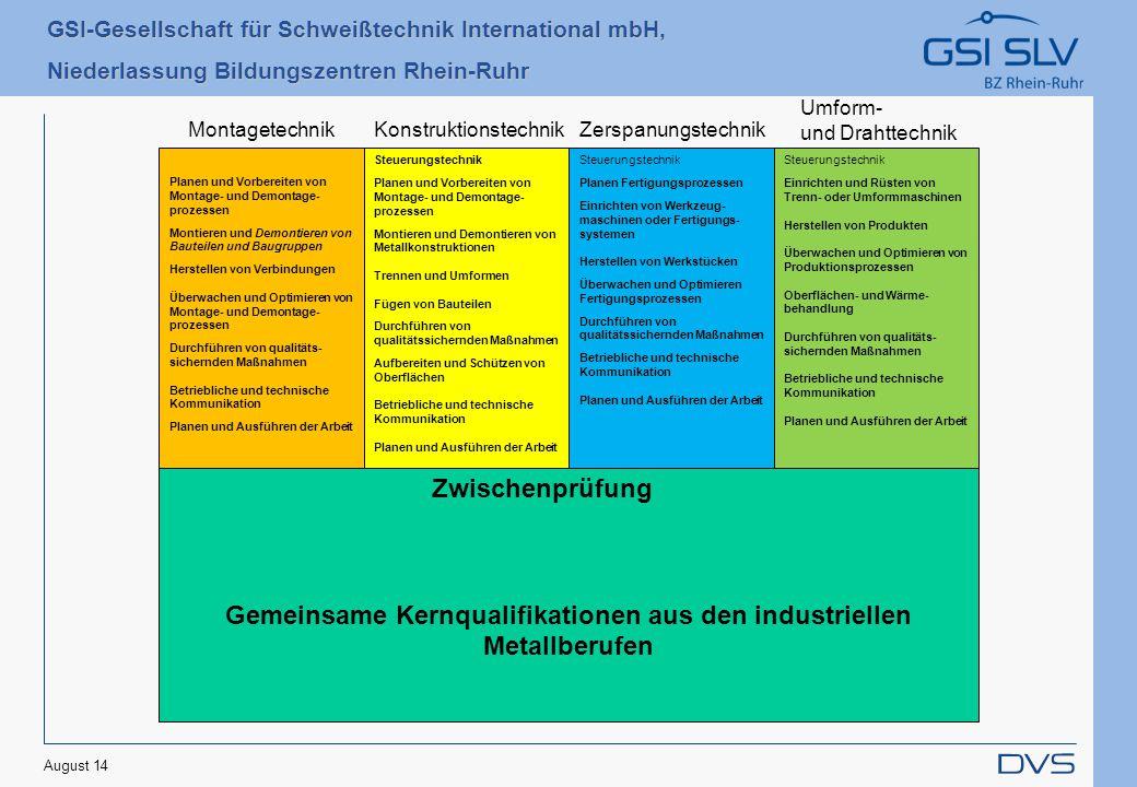 Gemeinsame Kernqualifikationen aus den industriellen Metallberufen