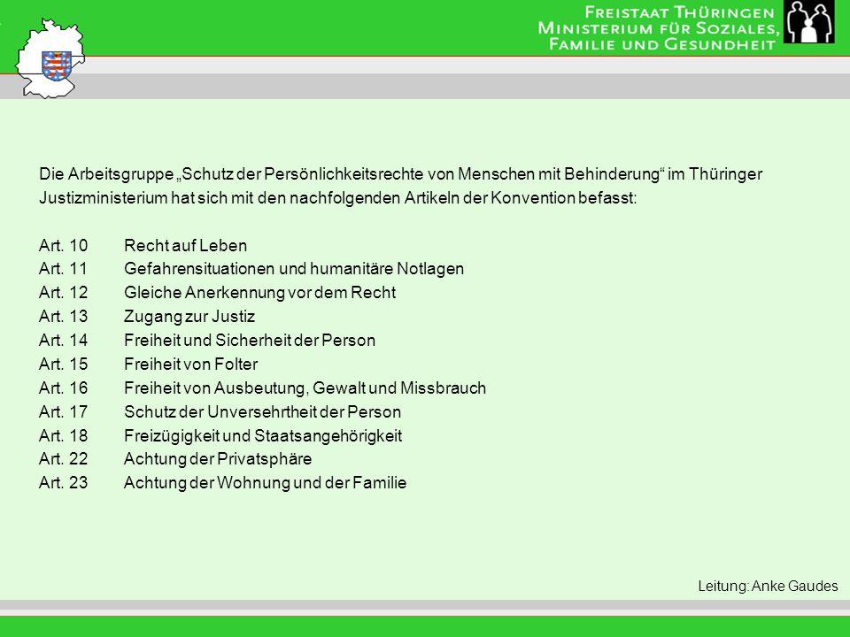 """Titel der Folie Die Arbeitsgruppe """"Schutz der Persönlichkeitsrechte von Menschen mit Behinderung im Thüringer."""
