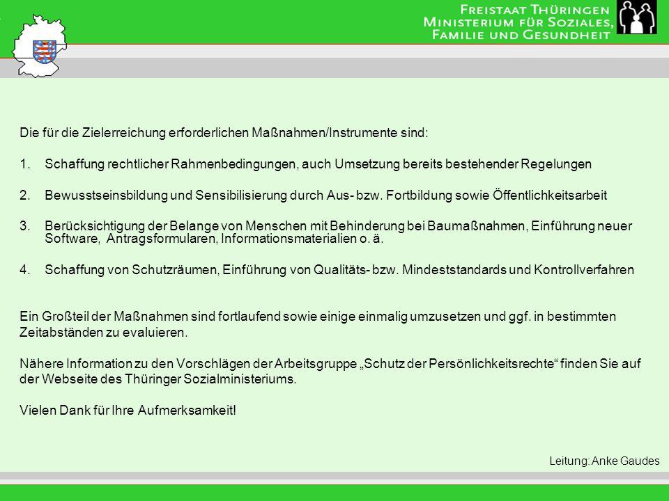 Titel der Folie Die für die Zielerreichung erforderlichen Maßnahmen/Instrumente sind: