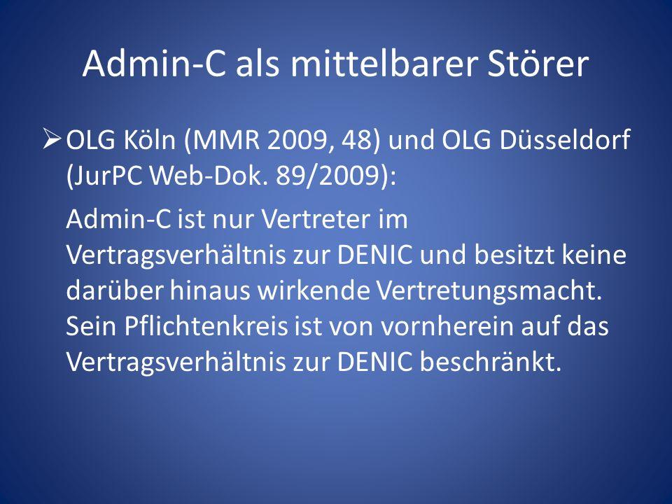 Admin-C als mittelbarer Störer