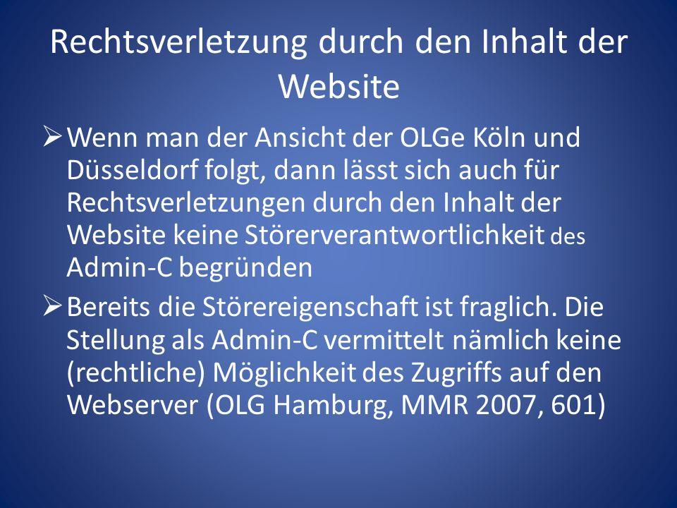 Admin-C als mittelbarer Störer (Forts.)