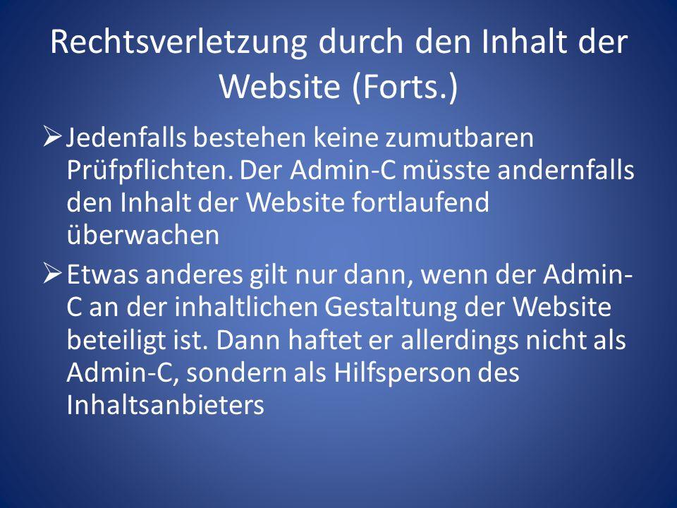 Rechtsverletzung durch den Inhalt der Website