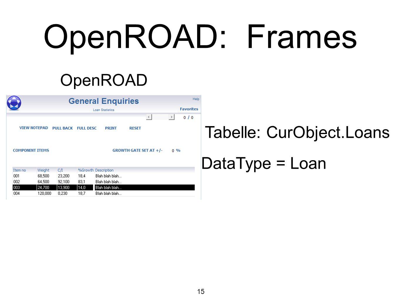 OpenROAD: Frames OpenROAD Tabelle: CurObject.Loans DataType = Loan