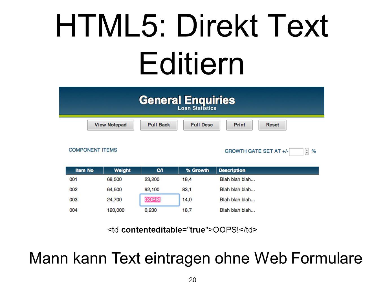 HTML5: Direkt Text Editiern