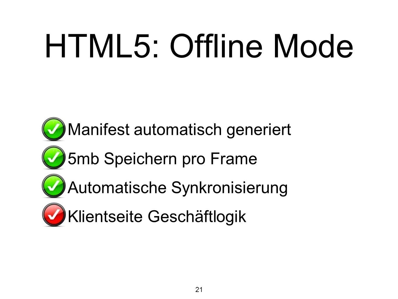 HTML5: Offline Mode Manifest automatisch generiert