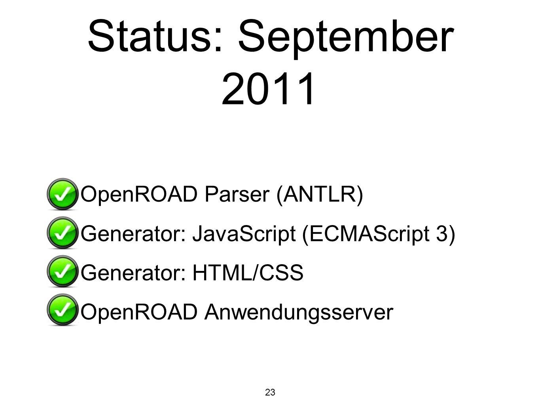 Status: September 2011 OpenROAD Parser (ANTLR)