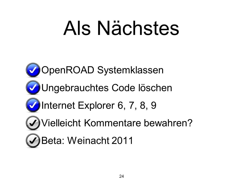 Als Nächstes OpenROAD Systemklassen Ungebrauchtes Code löschen