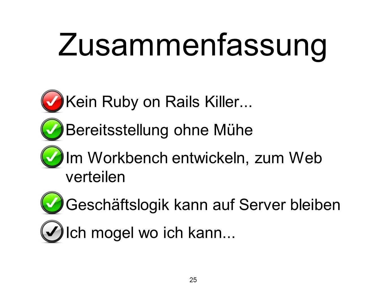 Zusammenfassung Kein Ruby on Rails Killer... Bereitsstellung ohne Mühe