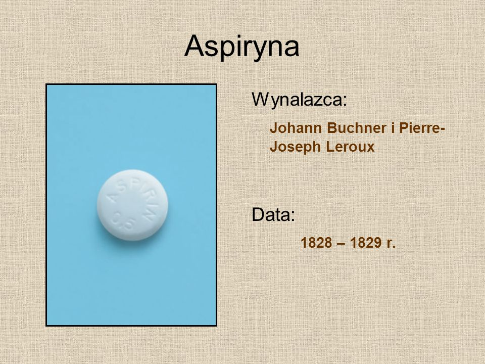Aspiryna Wynalazca: Johann Buchner i Pierre-Joseph Leroux Data: