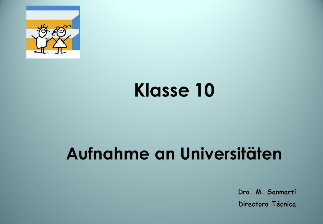 Aufnahme an Universitäten