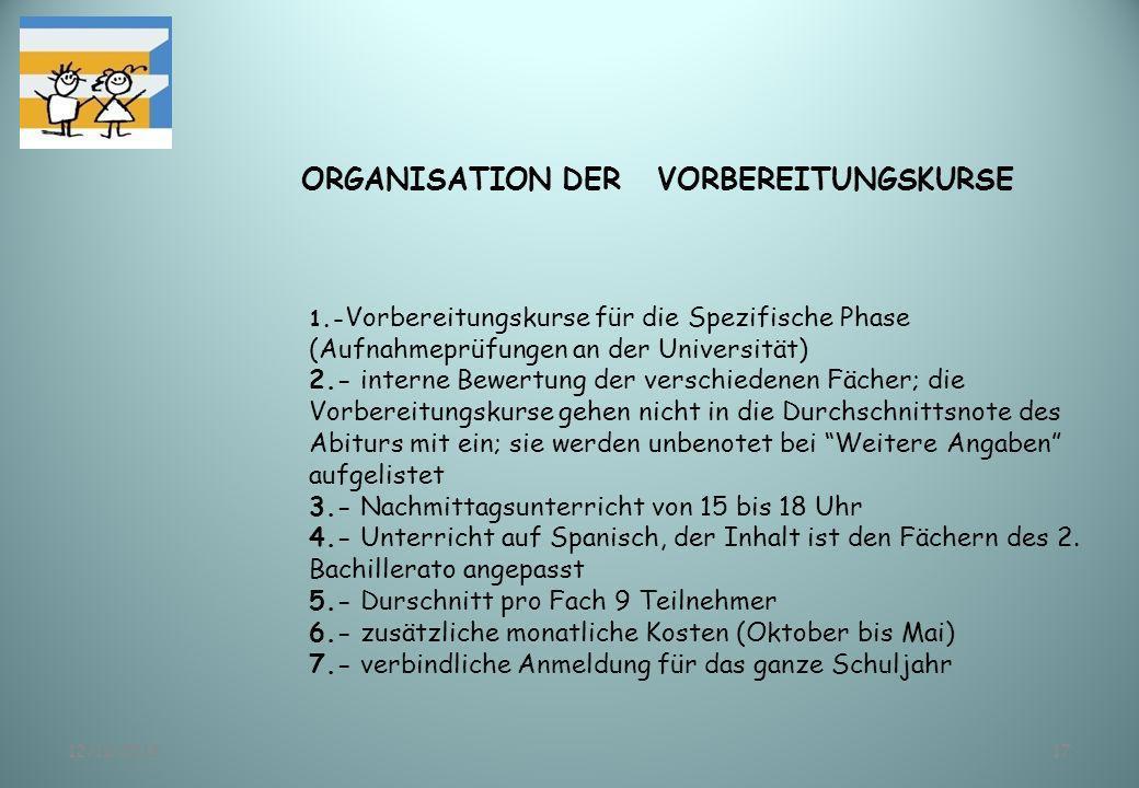 ORGANISATION DER VORBEREITUNGSKURSE