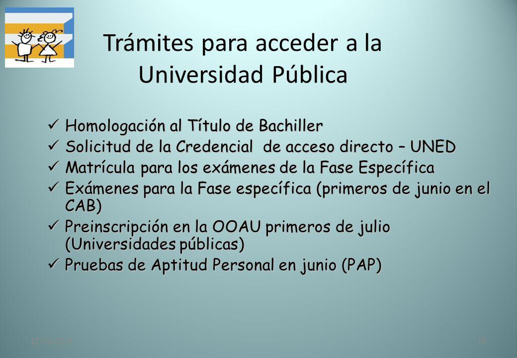 Trámites para acceder a la Universidad Pública