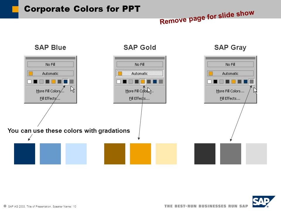 Corporate Colors for PPT