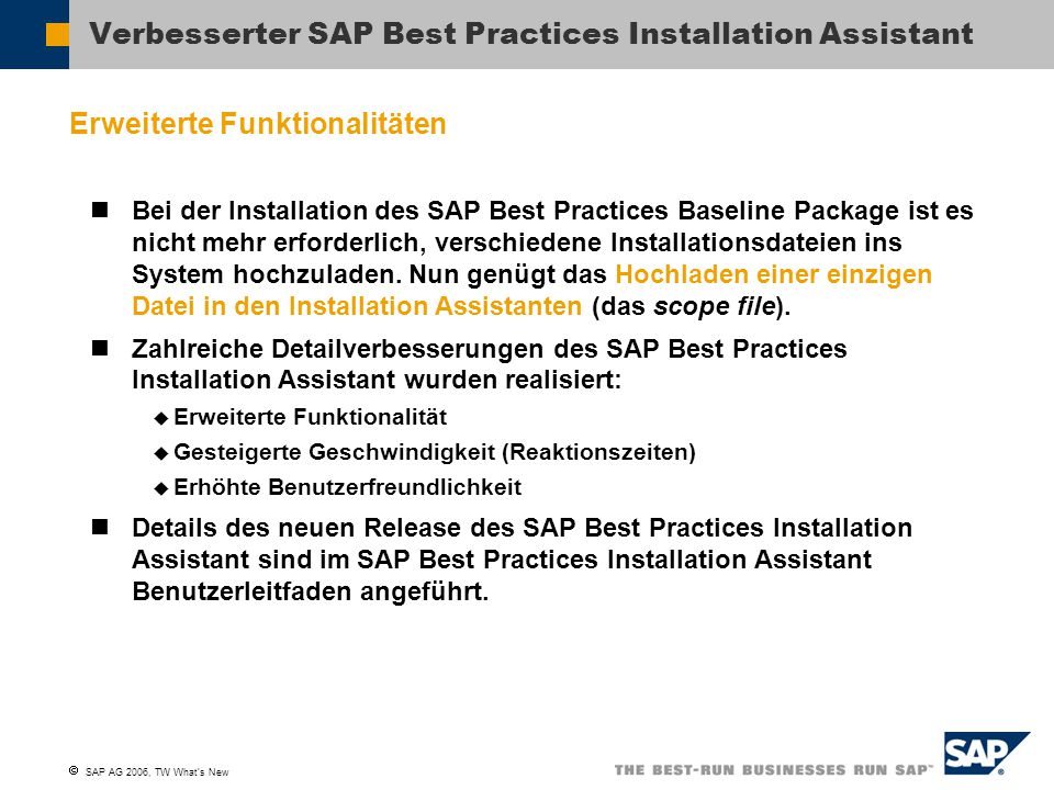 Verbesserter SAP Best Practices Installation Assistant