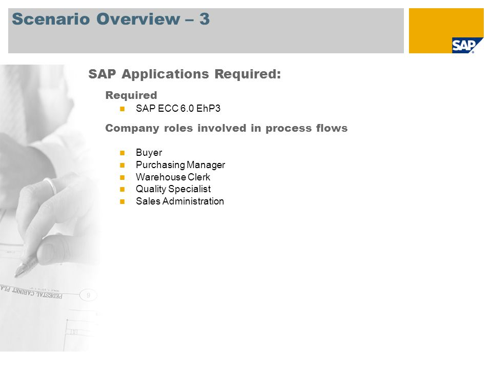 Scenario Overview – 3 SAP Applications Required: Required