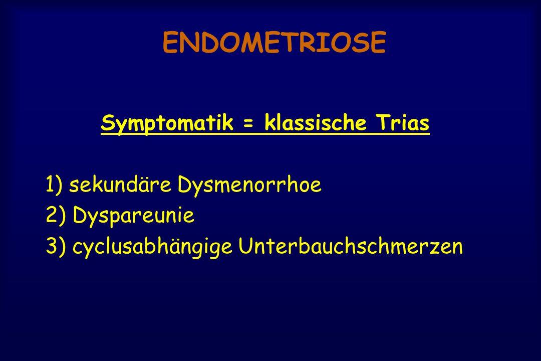 ENDOMETRIOSE Symptomatik = klassische Trias 1) sekundäre Dysmenorrhoe