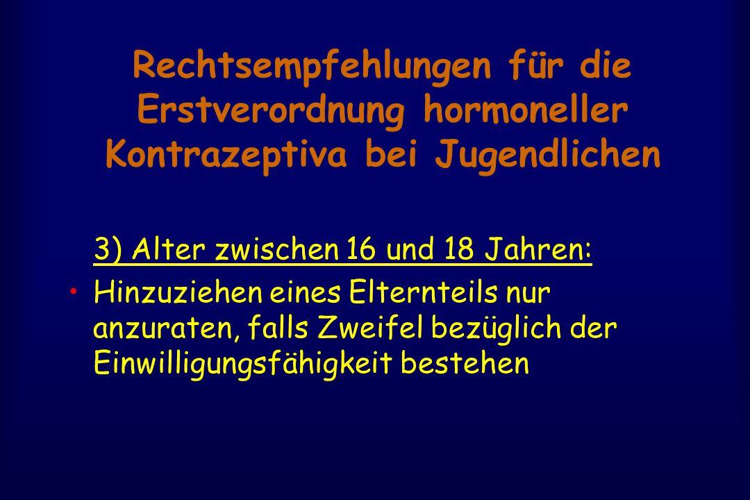 Rechtsempfehlungen für die Erstverordnung hormoneller Kontrazeptiva bei Jugendlichen