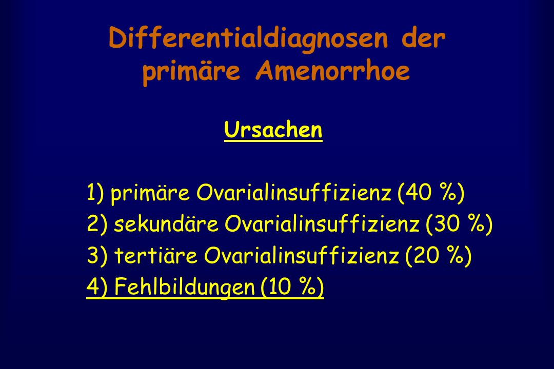 Differentialdiagnosen der primäre Amenorrhoe