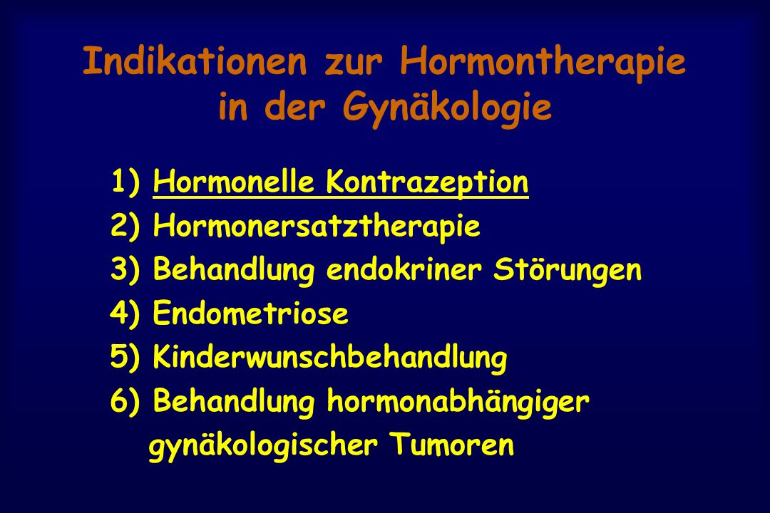 Indikationen zur Hormontherapie in der Gynäkologie
