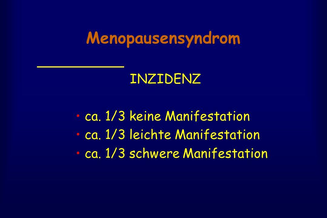Menopausensyndrom INZIDENZ • ca. 1/3 keine Manifestation