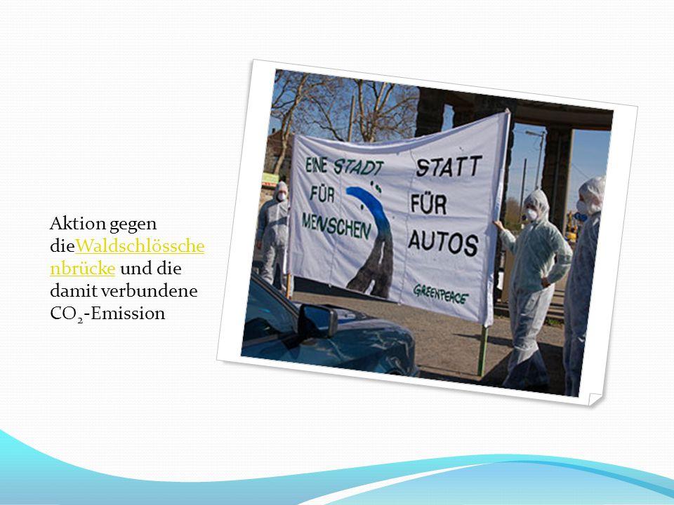Aktion gegen dieWaldschlössche nbrücke und die damit verbundene CO2-Emission
