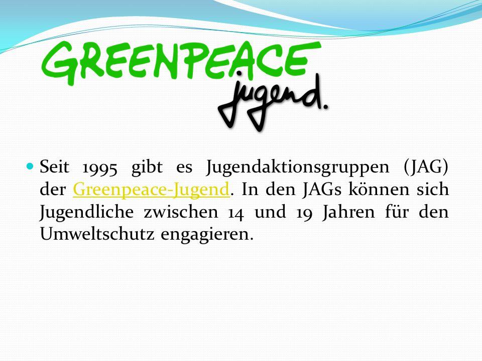 Seit 1995 gibt es Jugendaktionsgruppen (JAG) der Greenpeace-Jugend