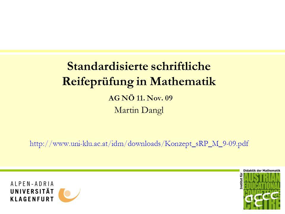 Standardisierte schriftliche Reifeprüfung in Mathematik AG NÖ 11. Nov