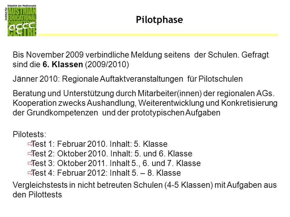 Pilotphase Bis November 2009 verbindliche Meldung seitens der Schulen. Gefragt sind die 6. Klassen (2009/2010)