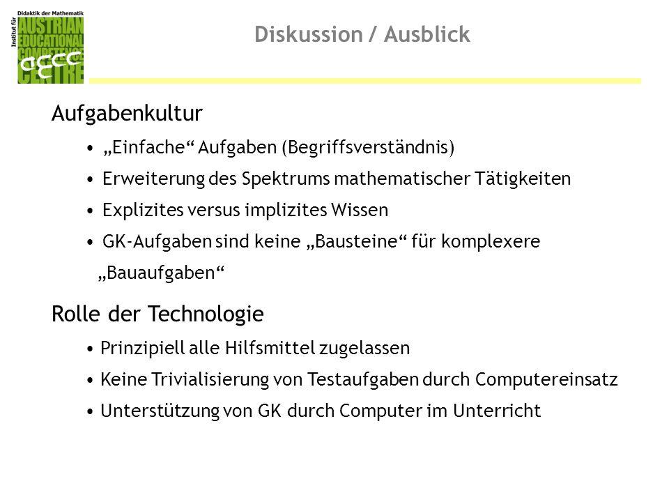 Diskussion / Ausblick Aufgabenkultur Rolle der Technologie