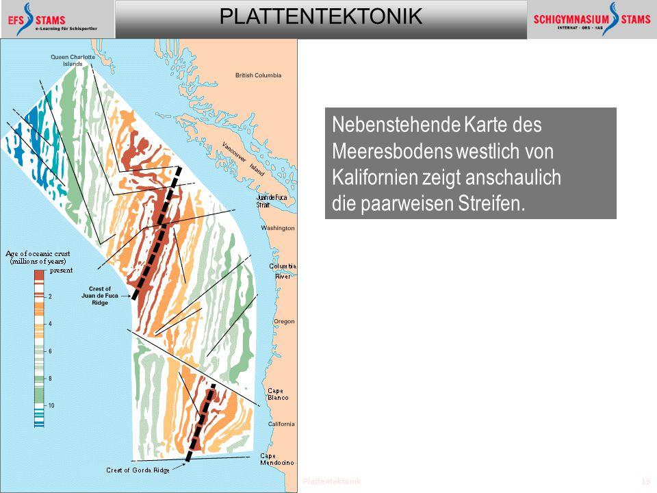 Nebenstehende Karte des Meeresbodens westlich von