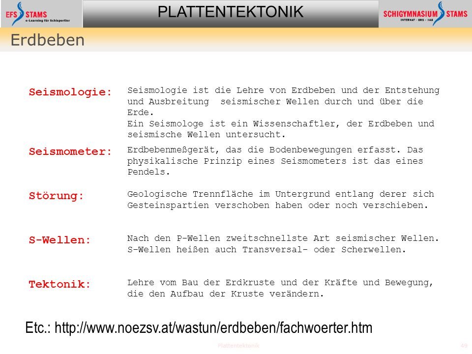 Etc.: http://www.noezsv.at/wastun/erdbeben/fachwoerter.htm