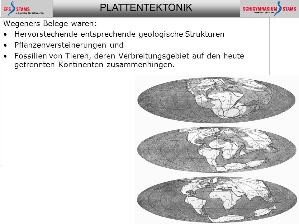 Wegeners Belege waren: