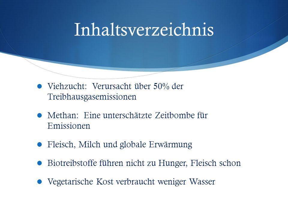 Inhaltsverzeichnis Viehzucht: Verursacht über 50% der Treibhausgasemissionen. Methan: Eine unterschätzte Zeitbombe für Emissionen.