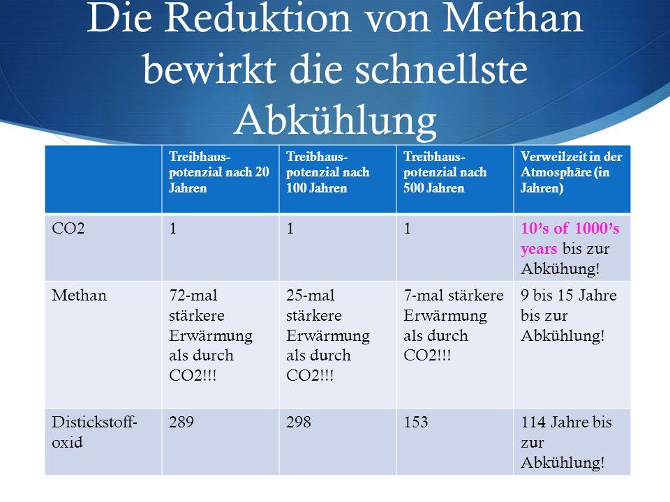 Die Reduktion von Methan bewirkt die schnellste Abkühlung