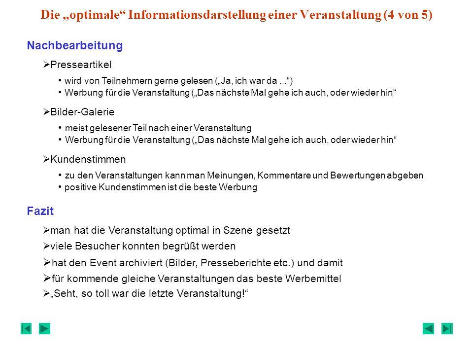 """Die """"optimale Informationsdarstellung einer Veranstaltung (4 von 5)"""
